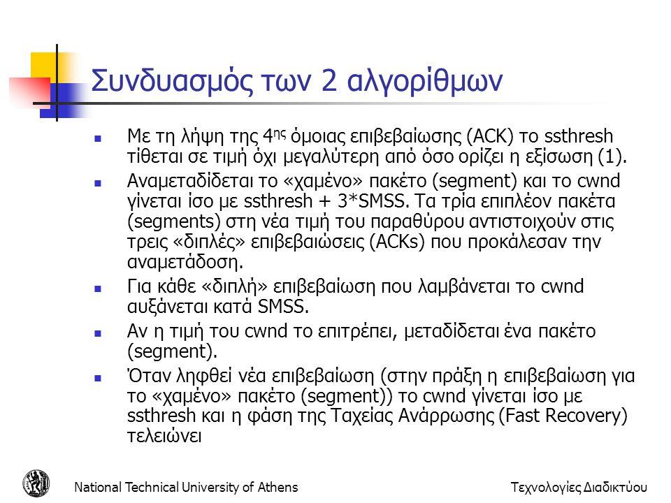 National Technical University of AthensΤεχνολογίες Διαδικτύου Συνδυασμός των 2 αλγορίθμων  Με τη λήψη της 4 ης όμοιας επιβεβαίωσης (ACK) το ssthresh τίθεται σε τιμή όχι μεγαλύτερη από όσο ορίζει η εξίσωση (1).