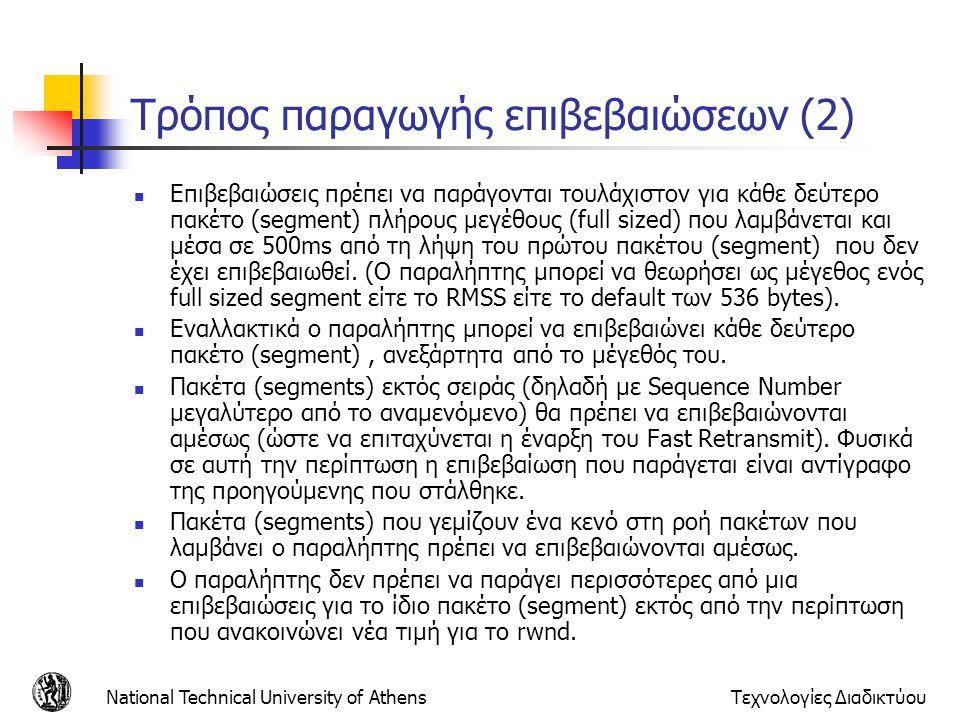 National Technical University of AthensΤεχνολογίες Διαδικτύου Τρόπος παραγωγής επιβεβαιώσεων (2)  Επιβεβαιώσεις πρέπει να παράγονται τουλάχιστον για κάθε δεύτερο πακέτο (segment) πλήρους μεγέθους (full sized) που λαμβάνεται και μέσα σε 500ms από τη λήψη του πρώτου πακέτου (segment) που δεν έχει επιβεβαιωθεί.