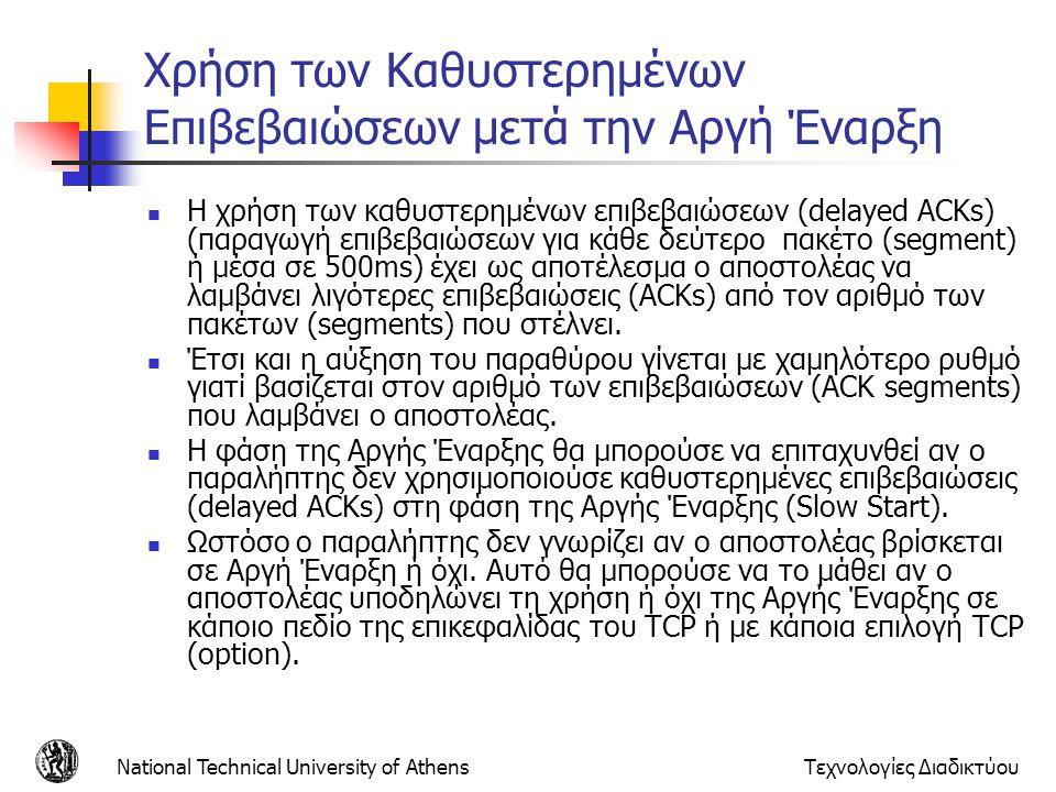 National Technical University of AthensΤεχνολογίες Διαδικτύου Χρήση των Καθυστερημένων Επιβεβαιώσεων μετά την Αργή Έναρξη  Η χρήση των καθυστερημένων