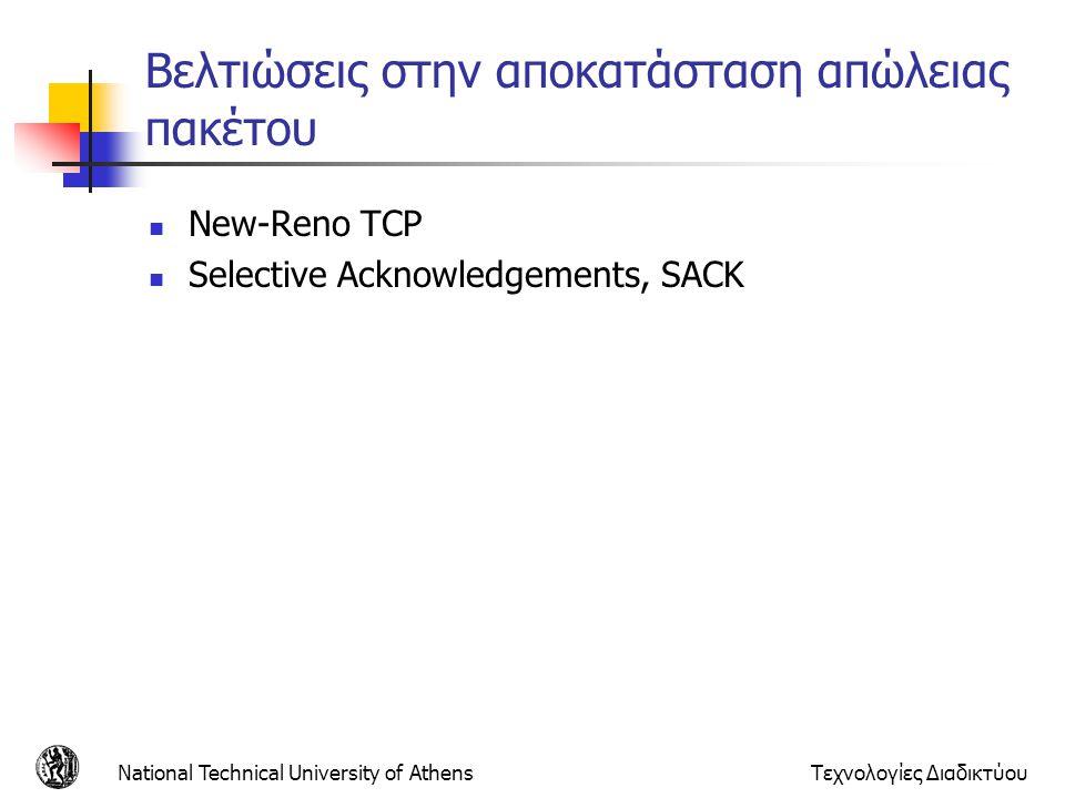 National Technical University of AthensΤεχνολογίες Διαδικτύου Βελτιώσεις στην αποκατάσταση απώλειας πακέτου  New-Reno TCP  Selective Acknowledgement