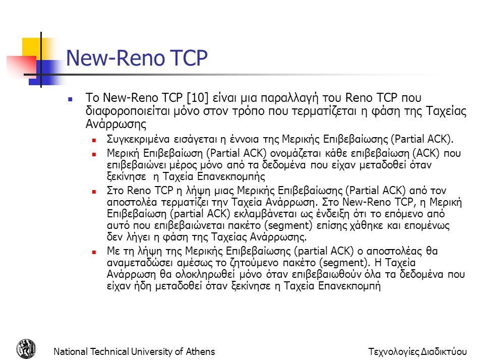 National Technical University of AthensΤεχνολογίες Διαδικτύου New-Reno TCP  Το New-Reno TCP [10] είναι μια παραλλαγή του Reno TCP που διαφοροποιείται μόνο στον τρόπο που τερματίζεται η φάση της Ταχείας Ανάρρωσης  Συγκεκριμένα εισάγεται η έννοια της Μερικής Επιβεβαίωσης (Partial ACK).