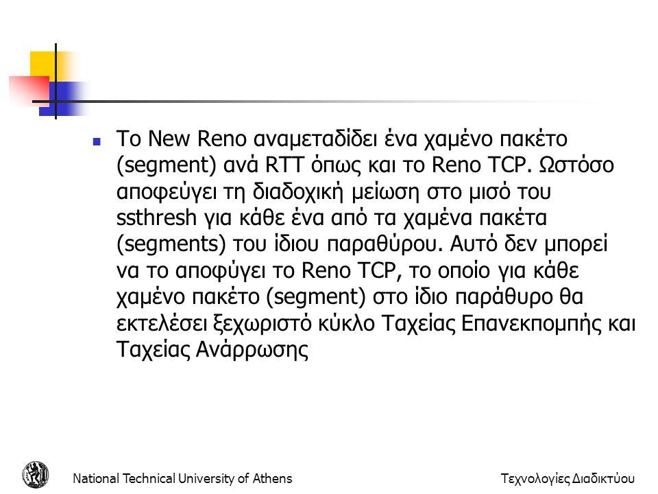 National Technical University of AthensΤεχνολογίες Διαδικτύου  Το New Reno αναμεταδίδει ένα χαμένο πακέτο (segment) ανά RTT όπως και το Reno TCP.