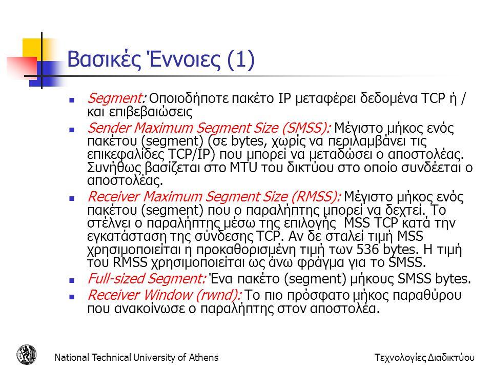 National Technical University of AthensΤεχνολογίες Διαδικτύου Βασικές Έννοιες (1)  Segment: Οποιοδήποτε πακέτο IP μεταφέρει δεδομένα TCP ή / και επιβεβαιώσεις  Sender Maximum Segment Size (SMSS): Μέγιστο μήκος ενός πακέτου (segment) (σε bytes, χωρίς να περιλαμβάνει τις επικεφαλίδες TCP/IP) που μπορεί να μεταδώσει ο αποστολέας.