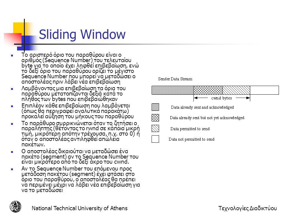 National Technical University of AthensΤεχνολογίες Διαδικτύου Sliding Window  Το αριστερό όριο του παραθύρου είναι ο αριθμός (Sequence Number) του τελευταίου byte για το οποίο έχει ληφθεί επιβεβαίωση, ενώ το δεξί όριο του παραθύρου ορίζει το μέγιστο Sequence Number που μπορεί να μεταδώσει ο αποστολέας πριν λάβει νέα επιβεβαίωση  Λαμβάνοντας μια επιβεβαίωση τα όρια του παραθύρου μετατοπίζονται δεξιά κατά το πλήθος των bytes που επιβεβαιώθηκαν  Επιπλέον κάθε επιβεβαίωση που λαμβάνεται (όπως θα περιγραφεί αναλυτικά παρακάτω) προκαλεί αύξηση του μήκους του παραθύρου  Το παράθυρο συρρικνώνεται όταν το ζητήσει ο παραλήπτης (θέτοντας το rwnd σε κάποια μικρή τιμή, μικρότερη απότην τρέχουσα, π.χ.