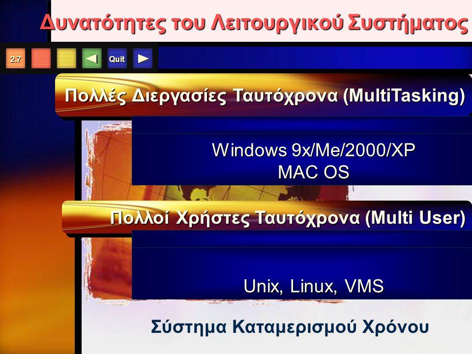 Quit 2.7 Δυνατότητες του Λειτουργικού Συστήματος Πολλές Διεργασίες Ταυτόχρονα (MultiTasking) Πολλοί Χρήστες Ταυτόχρονα (Multi User) Σύστημα Καταμερισμού Χρόνου Windows 9x/Me/2000/XP MAC OS Unix, Linux, VMS