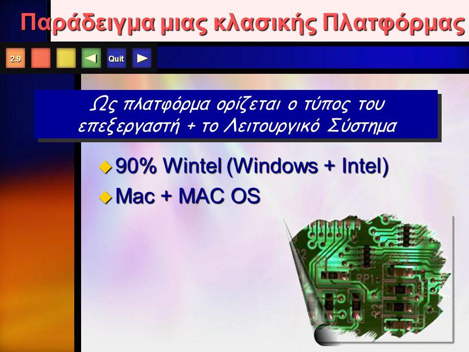 Quit 2.9 Παράδειγμα μιας κλασικής Πλατφόρμας  90% Wintel (Windows + Intel)  Mac + MAC OS Ως πλατφόρμα ορίζεται ο τύπος του επεξεργαστή + το Λειτουργικό Σύστημα