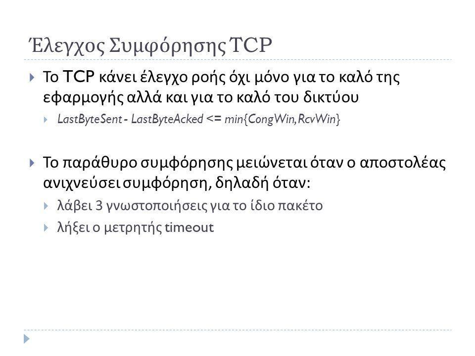 Έλεγχος Συμφόρησης TCP  Το TCP κάνει έλεγχο ροής όχι μόνο για το καλό της εφαρμογής αλλά και για το καλό του δικτύου  LastByteSent - LastByteAcked <= min{CongWin, RcvWin}  Το παράθυρο συμφόρησης μειώνεται όταν ο αποστολέας ανιχνεύσει συμφόρηση, δηλαδή όταν :  λάβει 3 γνωστοποιήσεις για το ίδιο πακέτο  λήξει ο μετρητής timeout