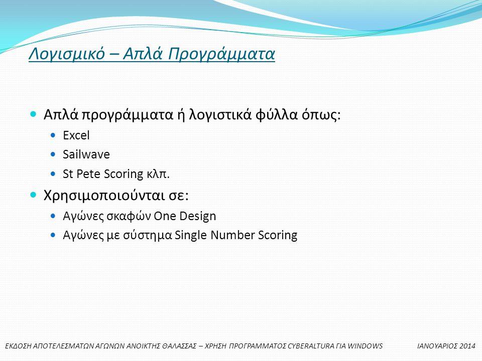 Λογισμικό – Απλά Προγράμματα  Απλά προγράμματα ή λογιστικά φύλλα όπως:  Excel  Sailwave  St Pete Scoring κλπ.