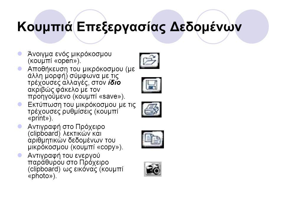 Κουμπιά Επεξεργασίας Δεδομένων  Άνοιγμα ενός μικρόκοσμου (κουμπί «open»).