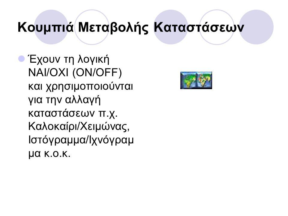 Κουμπιά Μεταβολής Καταστάσεων  Έχουν τη λογική ΝΑΙ/ΟΧΙ (ON/ΟFF) και χρησιμοποιούνται για την αλλαγή καταστάσεων π.χ.