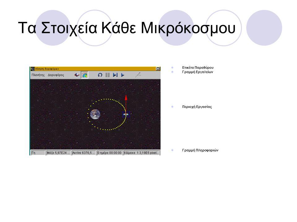 Τα Στοιχεία Κάθε Μικρόκοσμου  Ετικέτα Παραθύρου  Γραμμή Εργαλείων  Περιοχή Εργασίας  Γραμμή Πληροφοριών