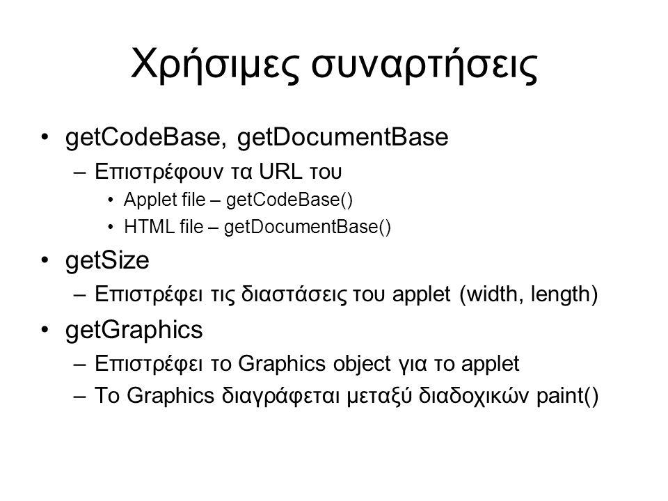 Χρήσιμες συναρτήσεις •getCodeBase, getDocumentBase –Επιστρέφουν τα URL του •Applet file – getCodeBase() •HTML file – getDocumentBase() •getSize –Επιστρέφει τις διαστάσεις του applet (width, length) •getGraphics –Επιστρέφει το Graphics object για το applet –Το Graphics διαγράφεται μεταξύ διαδοχικών paint()