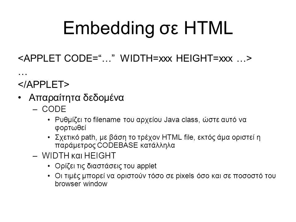 Embedding σε HTML … •Απαραίτητα δεδομένα –CODE •Ρυθμίζει το filename του αρχείου Java class, ώστε αυτό να φορτωθεί •Σχετικό path, με βάση το τρέχον HTML file, εκτός άμα οριστεί η παράμετρος CODEBASE κατάλληλα –WIDTH και HEIGHT •Ορίζει τις διαστάσεις του applet •Οι τιμές μπορεί να οριστούν τόσο σε pixels όσο και σε ποσοστό του browser window