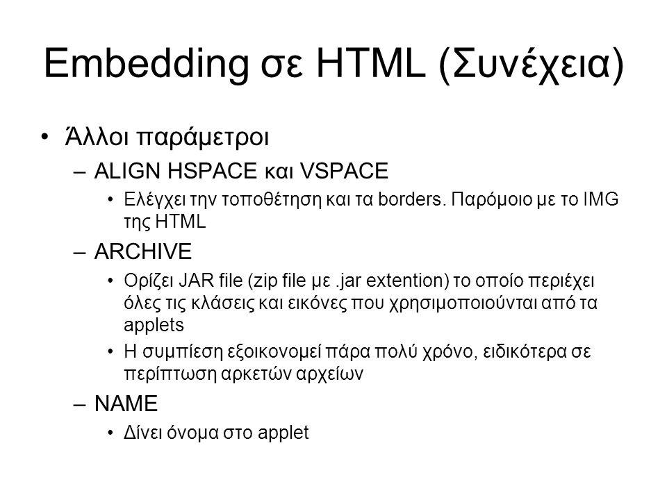Embedding σε HTML (Συνέχεια) •Άλλοι παράμετροι –ALIGN HSPACE και VSPACE •Ελέγχει την τοποθέτηση και τα borders. Παρόμοιο με το IMG της HTML –ARCHIVE •