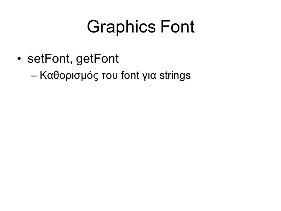 Graphics Font •setFont, getFont –Καθορισμός του font για strings