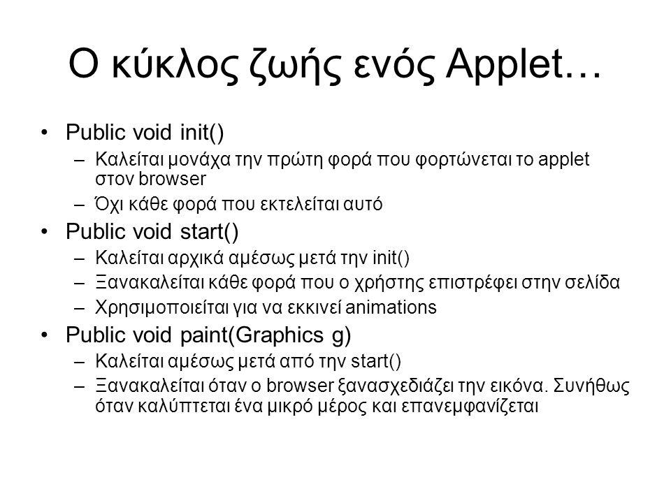 Ο κύκλος ζωής ενός Applet… •Public void init() –Καλείται μονάχα την πρώτη φορά που φορτώνεται το applet στον browser –Όχι κάθε φορά που εκτελείται αυτό •Public void start() –Καλείται αρχικά αμέσως μετά την init() –Ξανακαλείται κάθε φορά που ο χρήστης επιστρέφει στην σελίδα –Χρησιμοποιείται για να εκκινεί animations •Public void paint(Graphics g) –Καλείται αμέσως μετά από την start() –Ξανακαλείται όταν ο browser ξανασχεδιάζει την εικόνα.