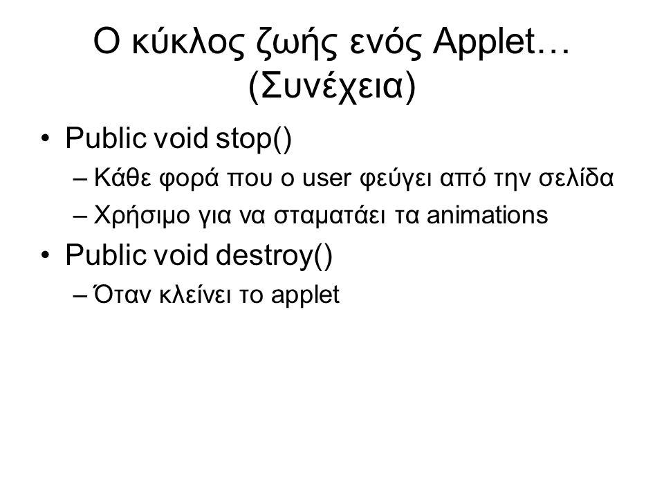 Ο κύκλος ζωής ενός Applet… (Συνέχεια) •Public void stop() –Κάθε φορά που ο user φεύγει από την σελίδα –Χρήσιμο για να σταματάει τα animations •Public void destroy() –Όταν κλείνει το applet