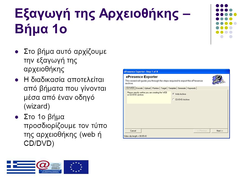 Εξαγωγή της Αρχειοθήκης – Βήμα 1ο  Στο βήμα αυτό αρχίζουμε την εξαγωγή της αρχειοθήκης  Η διαδικασία αποτελείται από βήματα που γίνονται μέσα από έναν οδηγό (wizard)  Στο 1ο βήμα προσδιορίζουμε τον τύπο της αρχειοθήκης (web ή CD/DVD)