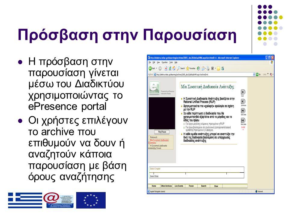 Πρόσβαση στην Παρουσίαση  Η πρόσβαση στην παρουσίαση γίνεται μέσω του Διαδικτύου χρησιμοποιώντας το ePresence portal  Οι χρήστες επιλέγουν το archive που επιθυμούν να δουν ή αναζητούν κάποια παρουσίαση με βάση όρους αναζήτησης