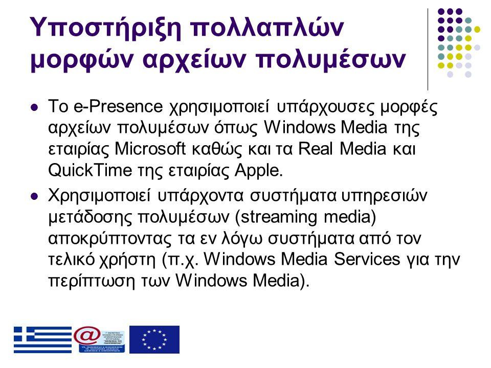 Υποστήριξη πολλαπλών μορφών αρχείων πολυμέσων  Το e-Presence χρησιμοποιεί υπάρχουσες μορφές αρχείων πολυμέσων όπως Windows Media της εταιρίας Microsoft καθώς και τα Real Media και QuickTime της εταιρίας Apple.