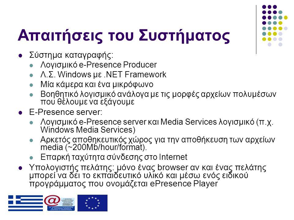 Απαιτήσεις του Συστήματος  Σύστημα καταγραφής:  Λογισμικό e-Presence Producer  Λ.Σ. Windows με.NET Framework  Μία κάμερα και ένα μικρόφωνο  Βοηθη