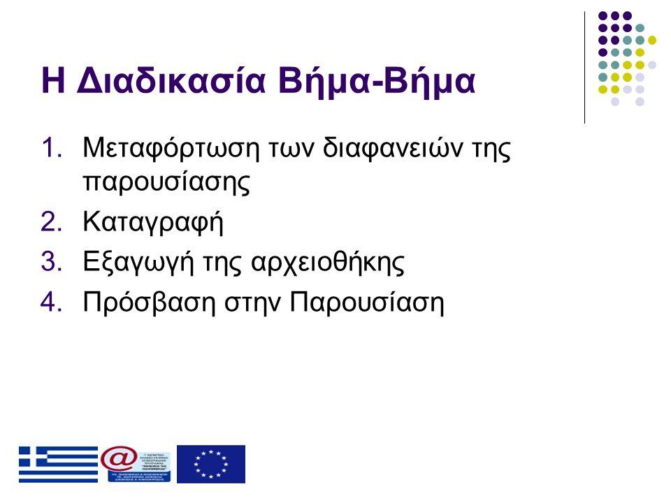 Η Διαδικασία Βήμα-Βήμα 1.Μεταφόρτωση των διαφανειών της παρουσίασης 2.Καταγραφή 3.Εξαγωγή της αρχειοθήκης 4.Πρόσβαση στην Παρουσίαση
