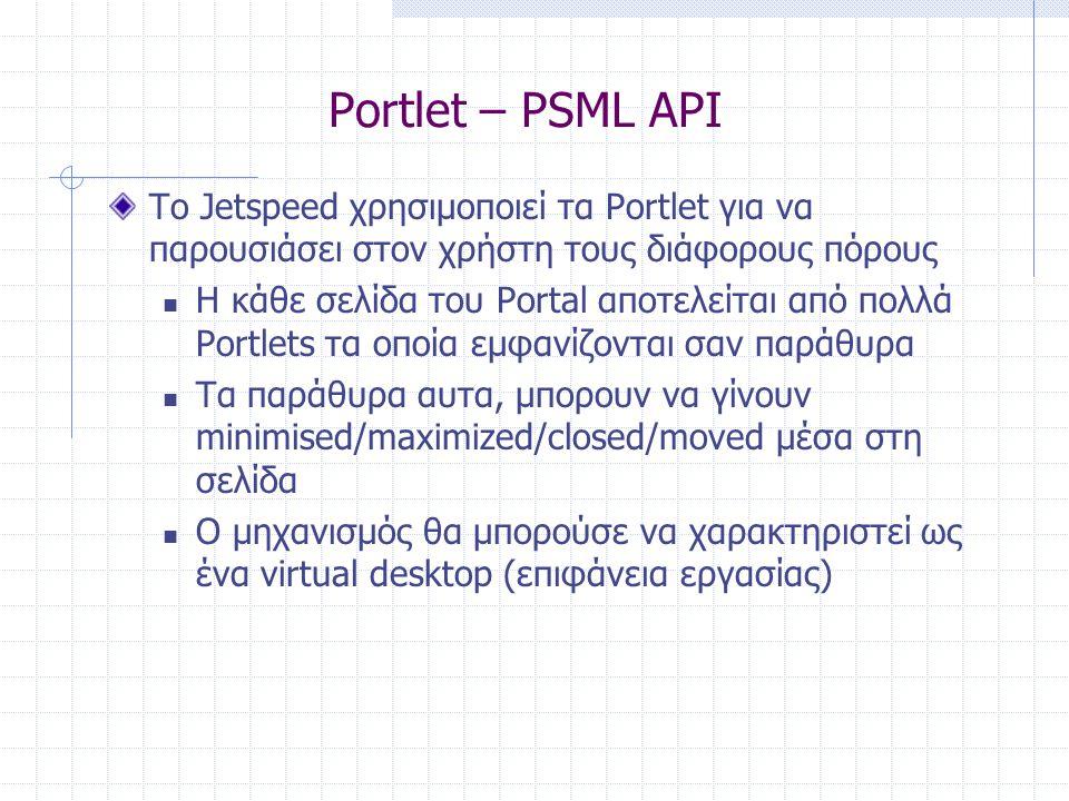 Portlet – PSML API Το Jetspeed χρησιμοποιεί τα Portlet για να παρουσιάσει στον χρήστη τους διάφορους πόρους  Η κάθε σελίδα του Portal αποτελείται από πολλά Portlets τα οποία εμφανίζονται σαν παράθυρα  Τα παράθυρα αυτα, μπορουν να γίνουν minimised/maximized/closed/moved μέσα στη σελίδα  Ο μηχανισμός θα μπορούσε να χαρακτηριστεί ως ένα virtual desktop (επιφάνεια εργασίας)