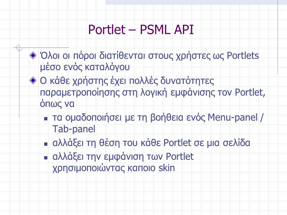 Portlet – PSML API Όλοι οι πόροι διατίθενται στους χρήστες ως Portlets μέσο ενός καταλόγου Ο κάθε χρήστης έχει πολλές δυνατότητες παραμετροποίησης στη λογική εμφάνισης τον Portlet, όπως να  τα ομαδοποιήσει με τη βοήθεια ενός Menu-panel / Tab-panel  αλλάξει τη θέση του κάθε Portlet σε μια σελίδα  αλλάξει την εμφάνιση των Portlet χρησιμοποιώντας καποιο skin