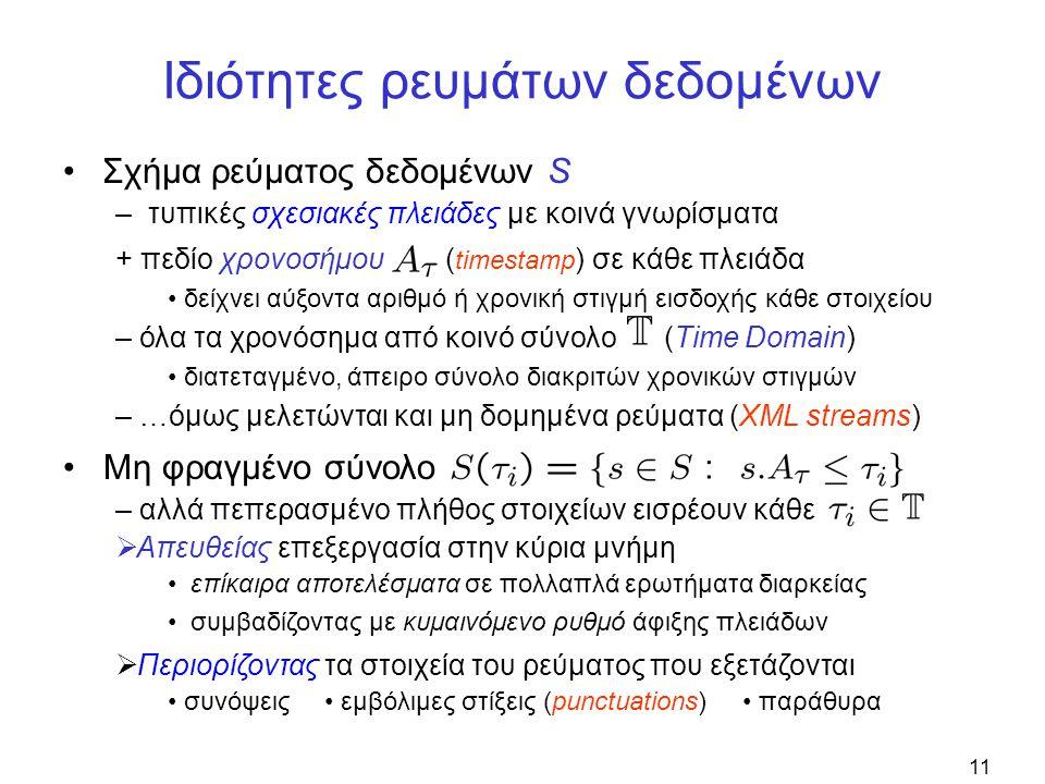 11 Ιδιότητες ρευμάτων δεδομένων •Σχήμα ρεύματος δεδομένων S –τυπικές σχεσιακές πλειάδες με κοινά γνωρίσματα + πεδίο χρονοσήμου ( timestamp ) σε κάθε πλειάδα • δείχνει αύξοντα αριθμό ή χρονική στιγμή εισδοχής κάθε στοιχείου • Μη φραγμένο σύνολο – αλλά πεπερασμένο πλήθος στοιχείων εισρέουν κάθε  Απευθείας επεξεργασία στην κύρια μνήμη • επίκαιρα αποτελέσματα σε πολλαπλά ερωτήματα διαρκείας • συμβαδίζοντας με κυμαινόμενο ρυθμό άφιξης πλειάδων  Περιορίζοντας τα στοιχεία του ρεύματος που εξετάζονται • συνόψεις • εμβόλιμες στίξεις (punctuations) • παράθυρα – όλα τα χρονόσημα από κοινό σύνολο (Time Domain) • διατεταγμένο, άπειρο σύνολο διακριτών χρονικών στιγμών – …όμως μελετώνται και μη δομημένα ρεύματα (XML streams)