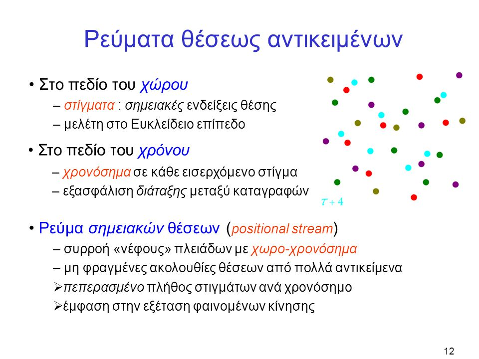 12 Ρεύματα θέσεως αντικειμένων • Στο πεδίο του χώρου – στίγματα : σημειακές ενδείξεις θέσης – μελέτη στο Ευκλείδειο επίπεδο • Στο πεδίο του χρόνου – χρονόσημα σε κάθε εισερχόμενο στίγμα – εξασφάλιση διάταξης μεταξύ καταγραφών • Ρεύμα σημειακών θέσεων ( positional stream ) – συρροή «νέφους» πλειάδων με χωρο-χρονόσημα – μη φραγμένες ακολουθίες θέσεων από πολλά αντικείμενα  πεπερασμένο πλήθος στιγμάτων ανά χρονόσημο  έμφαση στην εξέταση φαινομένων κίνησης