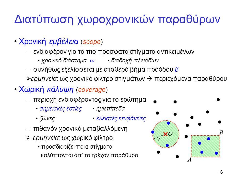 16 Διατύπωση χωροχρονικών παραθύρων • Χρονική εμβέλεια (scope) – ενδιαφέρον για τα πιο πρόσφατα στίγματα αντικειμένων • χρονικό διάστημα ω • διαδοχή πλειάδων – συνήθως εξελίσσεται με σταθερό βήμα προόδου β  ερμηνεία: ως χρονικό φίλτρο στιγμάτων  περιεχόμενα παραθύρου • Χωρική κάλυψη (coverage) – περιοχή ενδιαφέροντος για το ερώτημα – πιθανόν χρονικά μεταβαλλόμενη  ερμηνεία: ως χωρικό φίλτρο • προσδιορίζει ποια στίγματα καλύπτονται απ' το τρέχον παράθυρο • σημειακές εστίες• ημιεπίπεδα • ζώνες• κλειστές επιφάνειες
