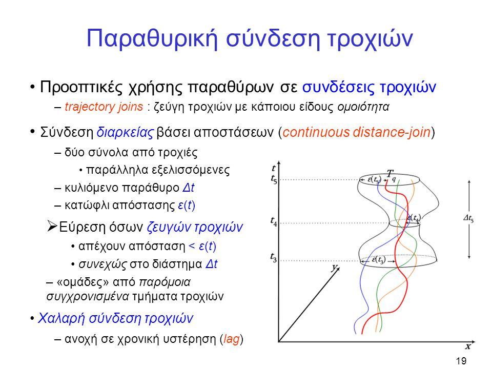 19 Παραθυρική σύνδεση τροχιών • Προοπτικές χρήσης παραθύρων σε συνδέσεις τροχιών – trajectory joins : ζεύγη τροχιών με κάποιου είδους ομοιότητα • Σύνδεση διαρκείας βάσει αποστάσεων (continuous distance-join) – δύο σύνολα από τροχιές • παράλληλα εξελισσόμενες – κυλιόμενο παράθυρο Δt – κατώφλι απόστασης ε(t)  Εύρεση όσων ζευγών τροχιών • απέχουν απόσταση < ε(t) • συνεχώς στο διάστημα Δt – «ομάδες» από παρόμοια συγχρονισμένα τμήματα τροχιών • Χαλαρή σύνδεση τροχιών – ανοχή σε χρονική υστέρηση (lag)