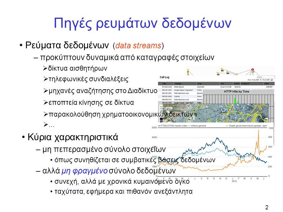 2 Πηγές ρευμάτων δεδομένων • Ρεύματα δεδομένων (data streams) – προκύπτουν δυναμικά από καταγραφές στοιχείων • Κύρια χαρακτηριστικά – μη πεπερασμένο σύνολο στοιχείων • όπως συνηθίζεται σε συμβατικές βάσεις δεδομένων – αλλά μη φραγμένο σύνολο δεδομένων • συνεχή, αλλά με χρονικά κυμαινόμενο όγκο • ταχύτατα, εφήμερα και πιθανόν ανεξάντλητα  δίκτυα αισθητήρων  τηλεφωνικές συνδιαλέξεις  μηχανές αναζήτησης στο Διαδίκτυο  εποπτεία κίνησης σε δίκτυα  παρακολούθηση χρηματοοικονομικών δεικτών ...
