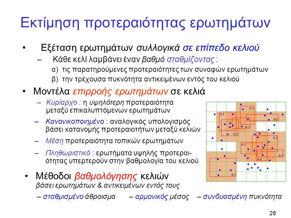 26 Εκτίμηση προτεραιότητας ερωτημάτων •Εξέταση ερωτημάτων συλλογικά σε επίπεδο κελιού –Κάθε κελί λαμβάνει έναν βαθμό σταθμίζοντας : α) τις παρατηρούμενες προτεραιότητες των συναφών ερωτημάτων β) την τρέχουσα πυκνότητα αντικειμένων εντός του κελιού –Κανονικοποιημένο : αναλογικός υπολογισμός βάσει κατανομής προτεραιοτήτων μεταξύ κελιών –Μέση προτεραιότητα τοπικών ερωτημάτων –Πληθωριστικό : ερωτήματα υψηλής προτεραι- ότητας υπερτερούν στην βαθμολογία του κελιού •Μοντέλα επιρροής ερωτημάτων σε κελιά –Κυρίαρχο : η υψηλότερη προτεραιότητα μεταξύ επικαλυπτόμενων ερωτημάτων •Μέθοδοι βαθμολόγησης κελιών βάσει ερωτημάτων & αντικειμένων εντός τους – συνδυασμένη πυκνότητα– αρμονικός μέσος– σταθμισμένο άθροισμα