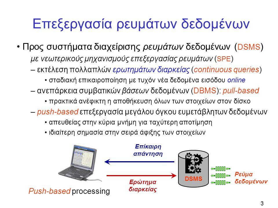 3 Επεξεργασία ρευμάτων δεδομένων • Προς συστήματα διαχείρισης ρευμάτων δεδομένων ( DSMS ) με νεωτερικούς μηχανισμούς επεξεργασίας ρευμάτων ( SPE ) – εκτέλεση πολλαπλών ερωτημάτων διαρκείας (continuous queries) • σταδιακή επικαιροποίηση με τυχόν νέα δεδομένα εισόδου online – ανεπάρκεια συμβατικών βάσεων δεδομένων (DBMS): pull-based • πρακτικά ανέφικτη η αποθήκευση όλων των στοιχείων στον δίσκο – push-based επεξεργασία μεγάλου όγκου ευμετάβλητων δεδομένων • απευθείας στην κύρια μνήμη για ταχύτερη αποτίμηση • ιδιαίτερη σημασία στην σειρά άφιξης των στοιχείων DBMS Ερώτημα Απάντηση Pull-based processingPush-based processing Ερώτημα διαρκείας Επίκαιρη απάντηση DSMS Ρεύμα δεδομένων