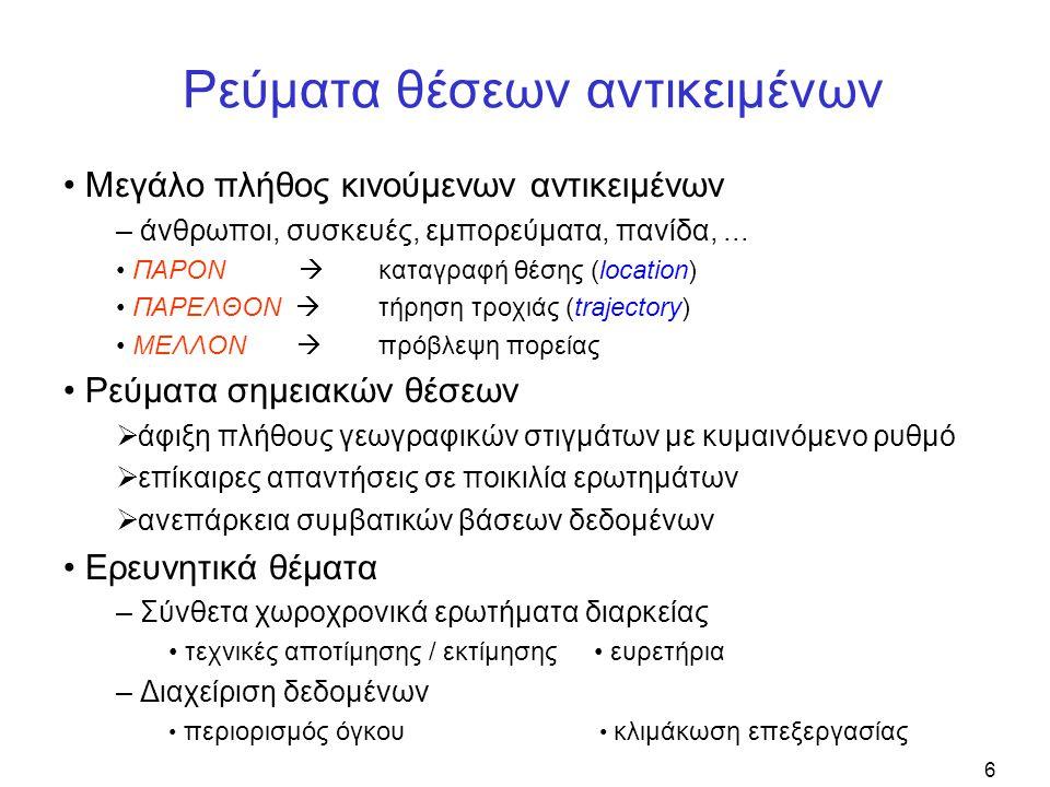 17 Είδη χωροχρονικών παραθύρων • Παράθυρα εκτάσεως ( extent-based windows ) – χρονική εμβέλεια : κυλιόμενο διάστημα – χωρική κάλυψη : στατική ή περιοδικά κινούμενη  εξαίρεση στιγμάτων εκτός ενδιαφέροντος ω = 3, β = 2 dx = 4, dy = 6 D = {d 1, d 2, d 3, d 4, d 5, d 6 } N = 2 στίγματα ανά ζώνη • Ψηφιδωτά παράθυρα ( tessellated windows ) – D: διαμέριση επιπέδου σε διακριτές ψηφίδες – τα N πιο πρόσφατα στίγματα ανά περιοχή  εποπτεία σε προκαθορισμένες ζώνες