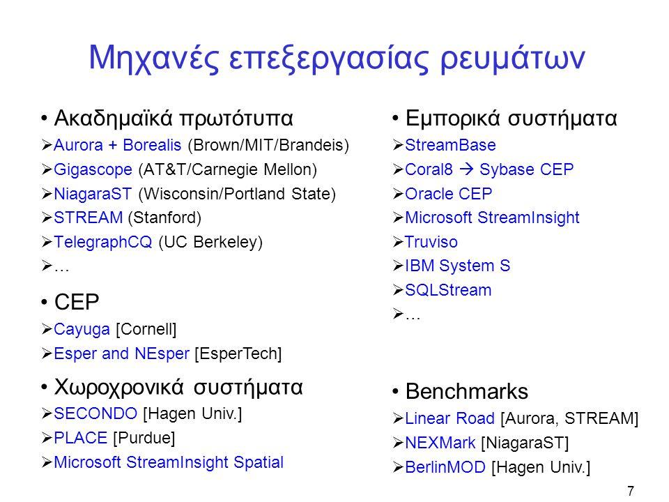 7 Μηχανές επεξεργασίας ρευμάτων • Ακαδημαϊκά πρωτότυπα  Aurora + Borealis (Brown/MIT/Brandeis)  Gigascope (AT&T/Carnegie Mellon)  NiagaraST (Wisconsin/Portland State)  STREAM (Stanford)  TelegraphCQ (UC Berkeley)  … • Εμπορικά συστήματα  StreamBase  Coral8  Sybase CEP  Oracle CEP  Microsoft StreamInsight  Truviso  IBM System S  SQLStream  … • Benchmarks  Linear Road [Aurora, STREAM]  NEXMark [NiagaraST]  BerlinMOD [Hagen Univ.] • CEP  Cayuga [Cornell]  Esper and NEsper [EsperTech] • Χωροχρονικά συστήματα  SECONDO [Hagen Univ.]  PLACE [Purdue]  Microsoft StreamInsight Spatial