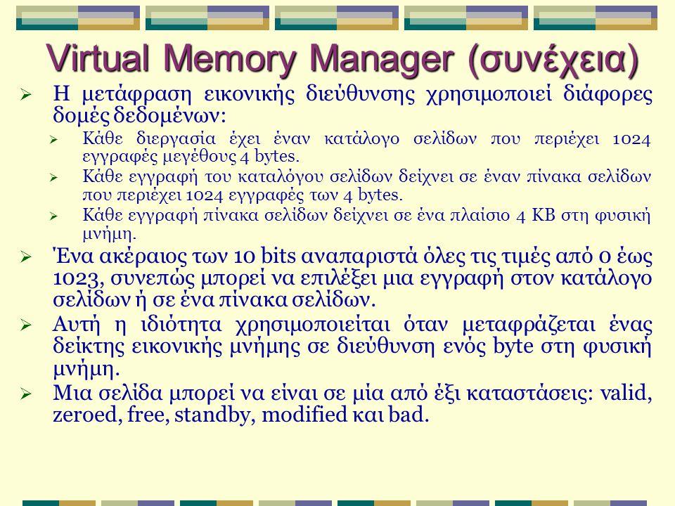 Virtual Memory Manager (συνέχεια)  Η μετάφραση εικονικής διεύθυνσης χρησιμοποιεί διάφορες δομές δεδομένων:  Κάθε διεργασία έχει έναν κατάλογο σελίδω