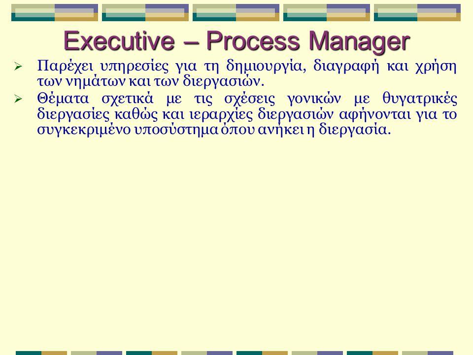 Executive – Process Manager  Παρέχει υπηρεσίες για τη δημιουργία, διαγραφή και χρήση των νημάτων και των διεργασιών.  Θέματα σχετικά με τις σχέσεις