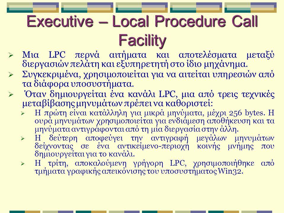 Executive – Local Procedure Call Facility  Μια LPC περνά αιτήματα και αποτελέσματα μεταξύ διεργασιών πελάτη και εξυπηρετητή στο ίδιο μηχάνημα.  Συγκ