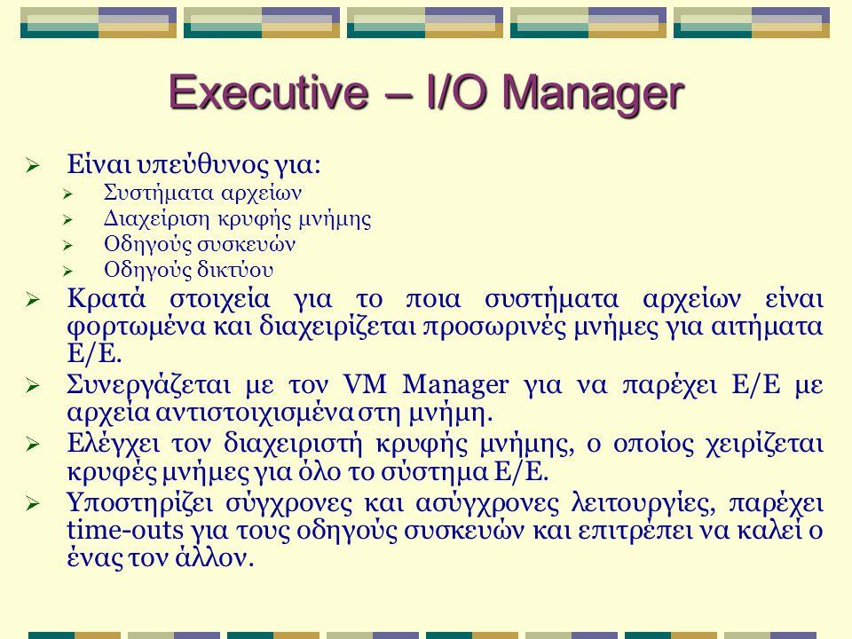 Executive – I/O Manager  Είναι υπεύθυνος για:  Συστήματα αρχείων  Διαχείριση κρυφής μνήμης  Οδηγούς συσκευών  Οδηγούς δικτύου  Κρατά στοιχεία γι