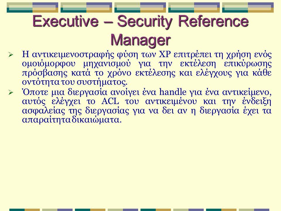 Executive – Security Reference Manager  Η αντικειμενοστραφής φύση των XP επιτρέπει τη χρήση ενός ομοιόμορφου μηχανισμού για την εκτέλεση επικύρωσης π
