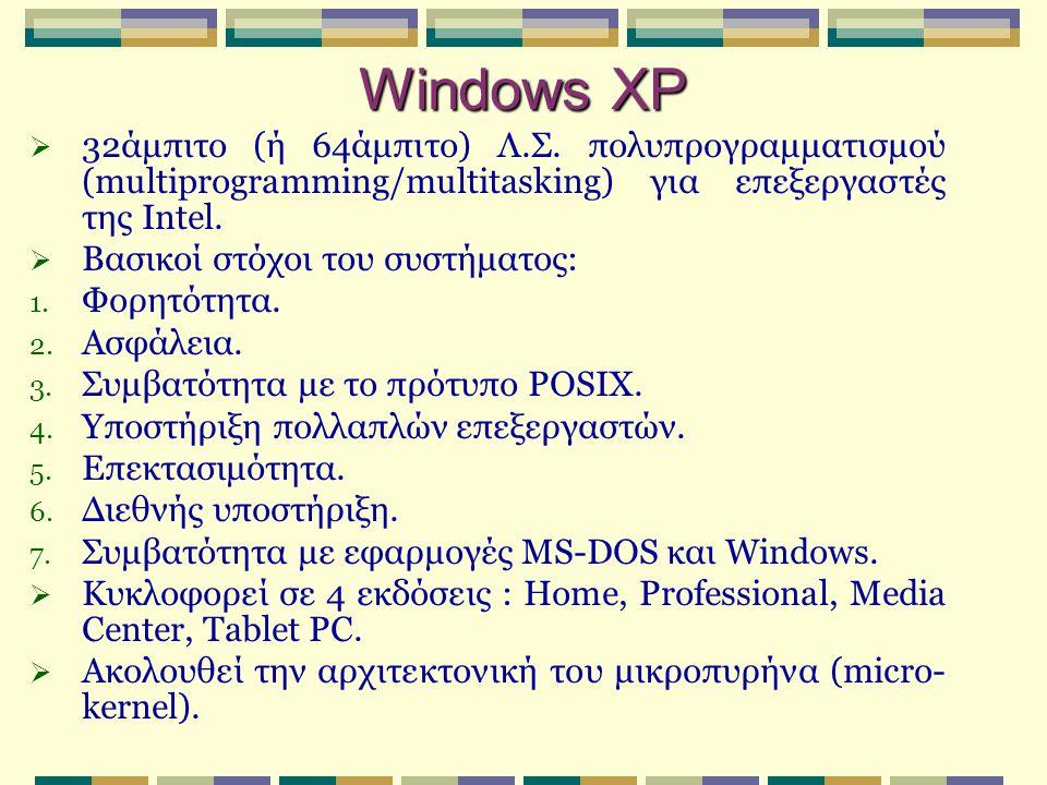 Windows XP  32άμπιτο (ή 64άμπιτο) Λ.Σ. πολυπρογραμματισμού (multiprogramming/multitasking) για επεξεργαστές της Intel.  Βασικοί στόχοι του συστήματο