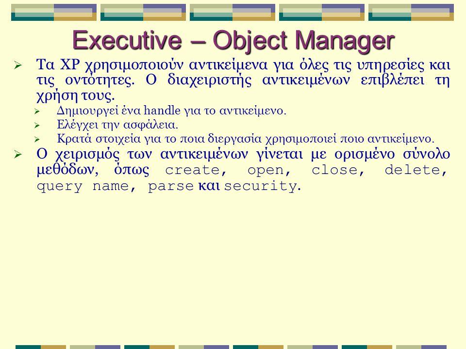 Executive – Object Manager  Τα XP χρησιμοποιούν αντικείμενα για όλες τις υπηρεσίες και τις οντότητες. Ο διαχειριστής αντικειμένων επιβλέπει τη χρήση