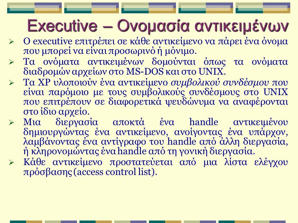 Περιβαλλοντικά υποσυστήματα  Διεργασίες που εκτελούνται σε user mode πάνω από τις εγγενείς υπηρεσίες του executive για να επιτρέπουν στα ΧΡ να τρέχουν προγράμματα που γράφτηκαν για άλλα Λ.Σ.