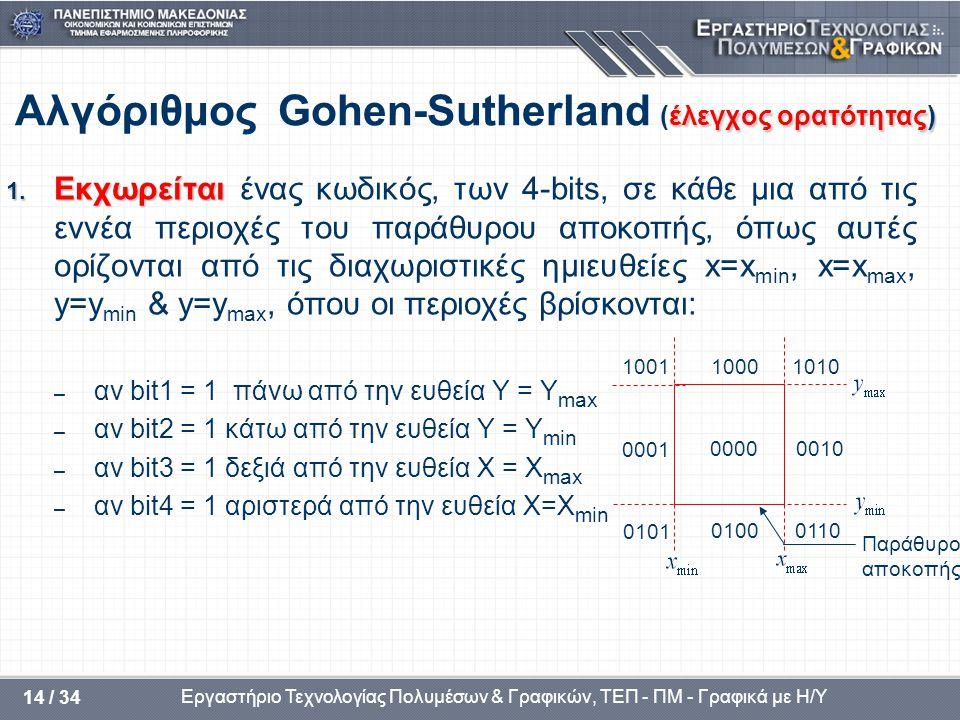 Εργαστήριο Τεχνολογίας Πολυμέσων & Γραφικών, ΤΕΠ - ΠΜ - Γραφικά με Η/Υ 14 / 34 έλεγχος ορατότητας) Αλγόριθμος Gohen-Sutherland (έλεγχος ορατότητας) 1.