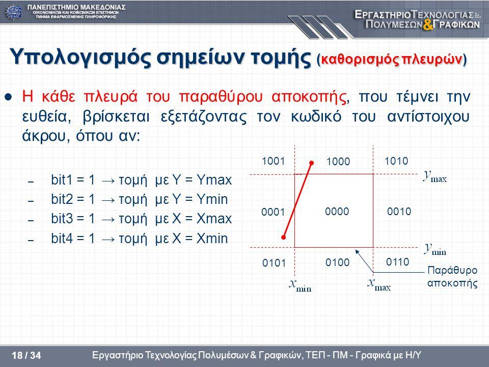 Εργαστήριο Τεχνολογίας Πολυμέσων & Γραφικών, ΤΕΠ - ΠΜ - Γραφικά με Η/Υ 18 / 34 Υπολογισμός σημείων τομής (καθορισμός πλευρών)  Η κάθε πλευρά του παραθύρου αποκοπής, που τέμνει την ευθεία, βρίσκεται εξετάζοντας τον κωδικό του αντίστοιχου άκρου, όπου αν: – bit1 = 1→ τομή με Y = Ymax – bit2 = 1→ τομή με Y = Ymin – bit3 = 1→ τομή με X = Xmax – bit4 = 1→ τομή με X = Xmin Παράθυρο αποκοπής 1001 1000 1010 0001 0000 0010 0101 0100 0110