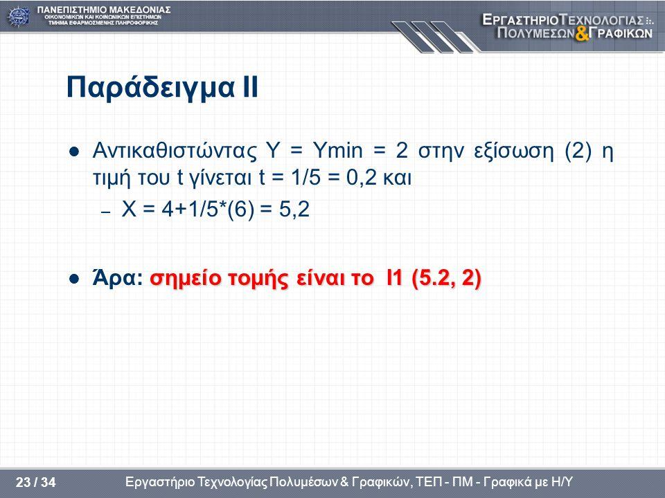 Εργαστήριο Τεχνολογίας Πολυμέσων & Γραφικών, ΤΕΠ - ΠΜ - Γραφικά με Η/Υ 23 / 34 Παράδειγμα ΙΙ  Αντικαθιστώντας Y = Ymin = 2 στην εξίσωση (2) η τιμή του t γίνεται t = 1/5 = 0,2 και – X = 4+1/5*(6) = 5,2 σημείο τομής είναι το I1 (5.2, 2)  Άρα: σημείο τομής είναι το I1 (5.2, 2)