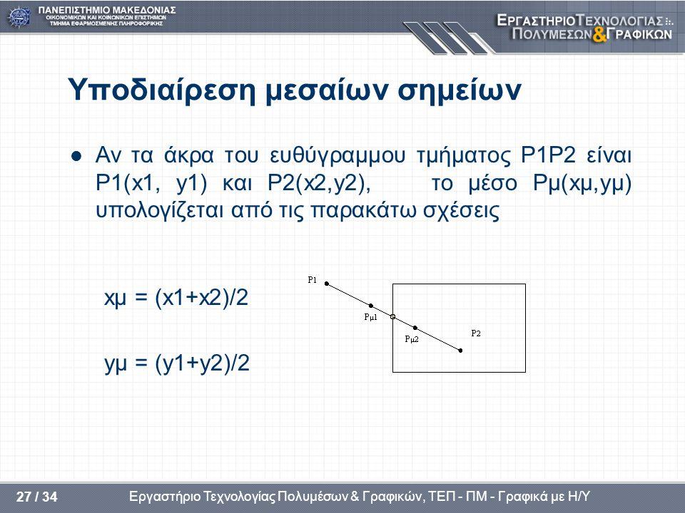 Εργαστήριο Τεχνολογίας Πολυμέσων & Γραφικών, ΤΕΠ - ΠΜ - Γραφικά με Η/Υ 27 / 34 Υποδιαίρεση μεσαίων σημείων  Αν τα άκρα του ευθύγραμμου τμήματος P1P2 είναι P1(x1, y1) και P2(x2,y2), το μέσο Pμ(xμ,yμ) υπολογίζεται από τις παρακάτω σχέσεις xμ = (x1+x2)/2 yμ = (y1+y2)/2