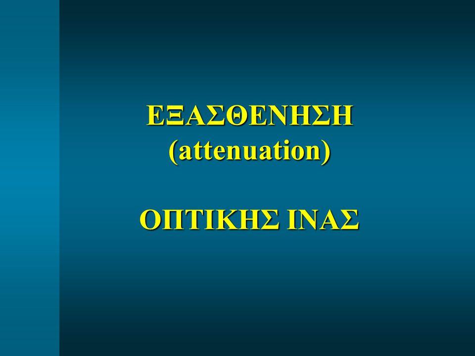  ΑΠΟΡΡΟΦΗΣΗ (absorption  light-to-heat) - Ενδογενής (Intrinsic Si-O μοριακοί δεσμοί) - Προσμίξεις Fe, Cu, V, Co, OH ion (Impurity) - Ελαττωματικό υλικό (Defect)  ΣΚΕΔΑΣΗ (light scattering) - Ενδογενής (Intrinsic) – μεταβολές στον δείκτη διάθλασης και στην σύνθεση του γυαλιού - Rayleigh Scattering - Κυματοδηγική (waveguide) – ατέλειες cladding - Λυγίσματα (bends, microbends) ΑΙΤΙΑ ΕΞΑΣΘΕΝΗΣΗΣ